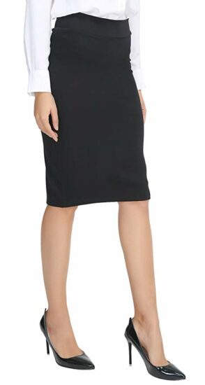 2. Women's elastic waist stretch bodycon midi pencil skirt