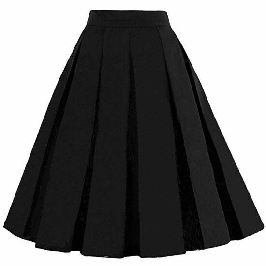 10. Women's Vintage A-line printed flared midi skirts