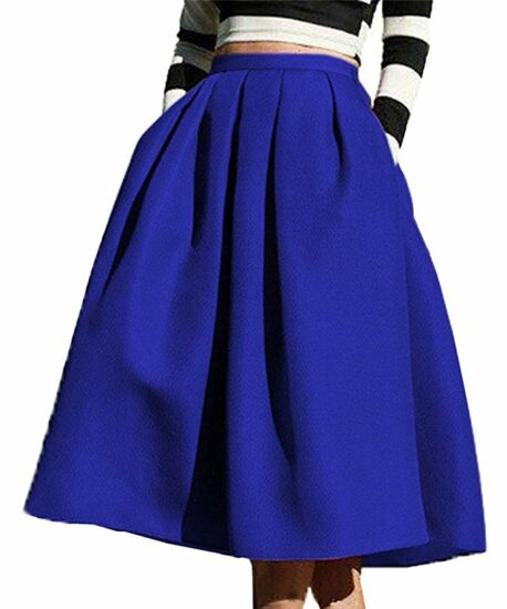 7. Women high waisted A-line street skirt skater pleated full midi skirt