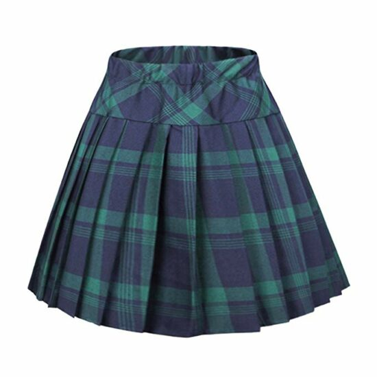 9. Women's elastic waist tartan pleated school skirt
