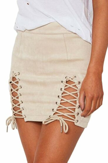 8. Women's sexy high waist lace up bodycon faux suede split tight mini skirt