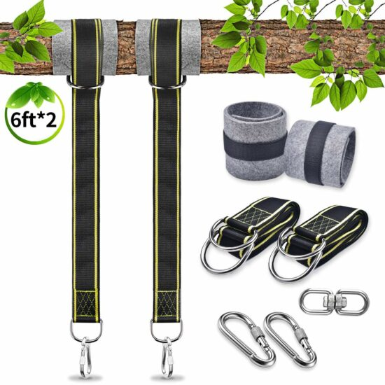 6: U-pick Tree Swing Hanging Kit Holds Max 4400lbs 6ft, Extra Long