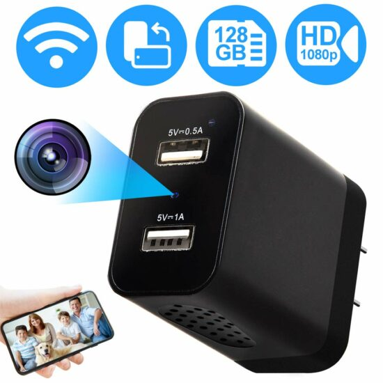 10. USB Wall Charger Secret Hidden Spy WiFi Camera Nanny Cam with Motion Detection Remote