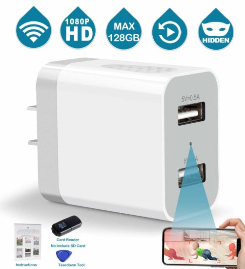 2. 1080P HD Hidden Camera Wall Charger Nanny Cam with Remote