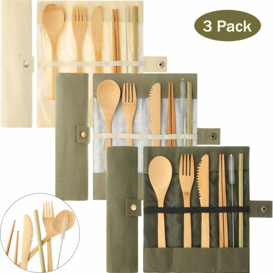 5. 3 Pack Bamboo Cutlery Set