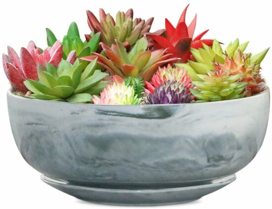 8. 8in Marble Large Round Succulent Planter