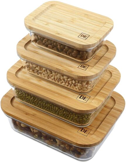 6. DE Plastic-Free Glass Food Storage Containers with Eco-Friendly Bamboo Wooden Lids