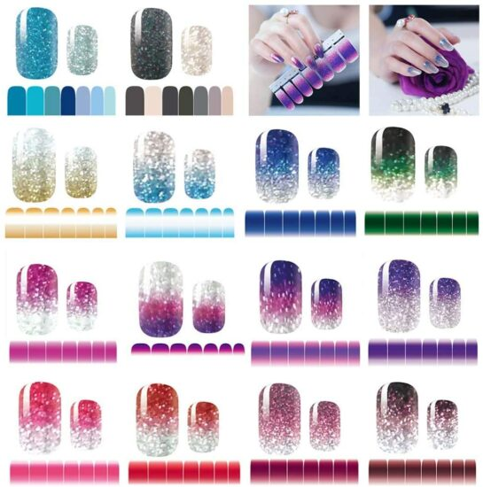 8. 14 Sheets Nail Stickers Glitter Gradient Color Shine