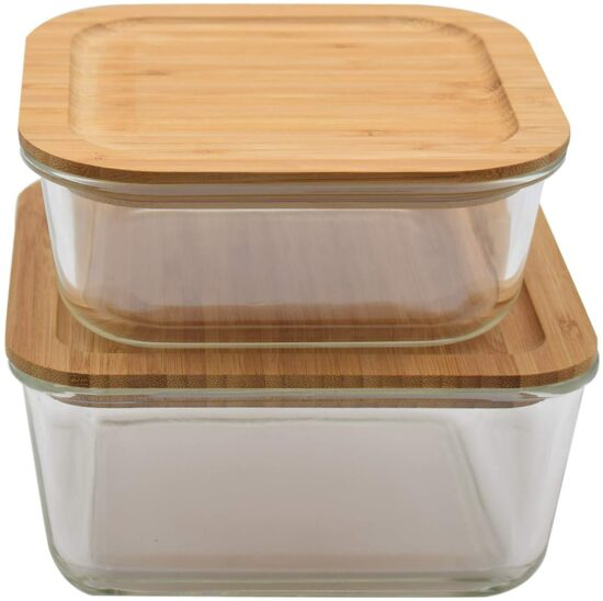 1. Large & XXL Glass Food Storage Containers with Bamboo Lids