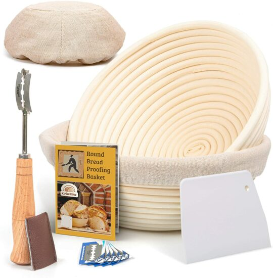 6. 9 Inch Bread Banneton Proofing Basket Round with Liner Cloth