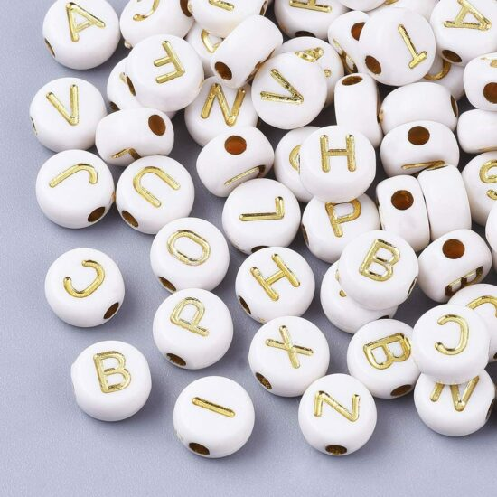 3. Cheriswelry 1000pcs 7mm white gold acrylic letter alphabet beads