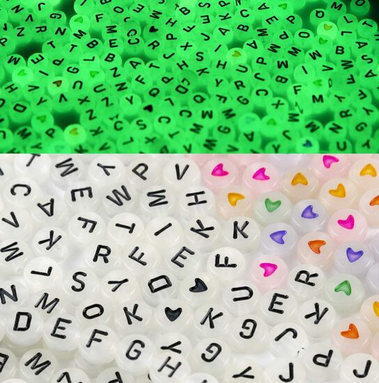 4. 650 pcs alphabet letter beads for bracelets necklace glow in the dark beads