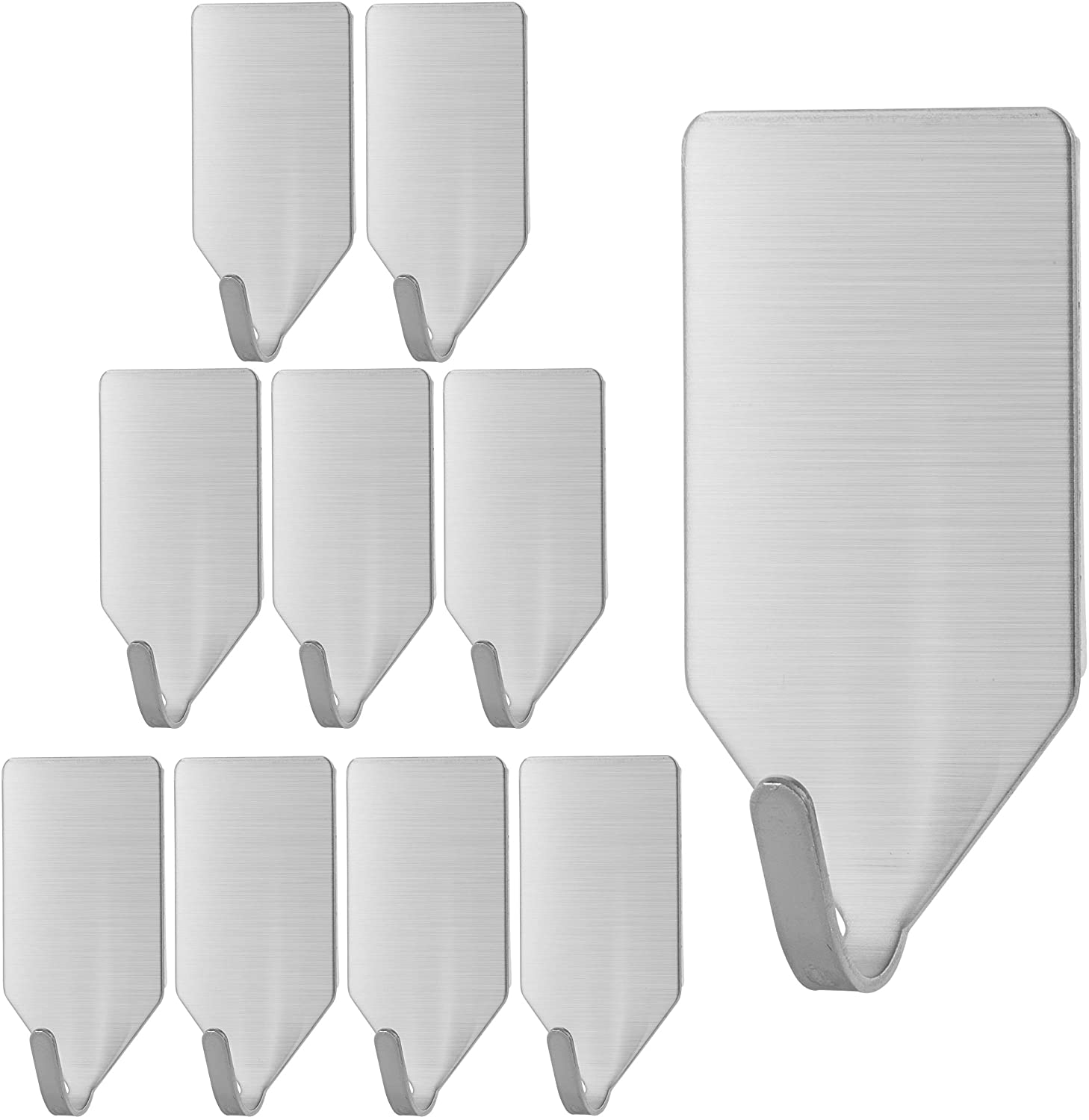 2. UNCO- Small Adhesive Hooks, 10 Pack, Stainless Steel, Hooks